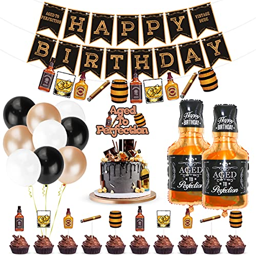 Whiskey Birthday Party Decorations, Aged to Perfection Birthday Party Supplies Whiskey Birthday Banner Garland, Whiskey Cake Toppers, White Black Champagne Gold Balloons Whiskey Bottle Foil Balloons