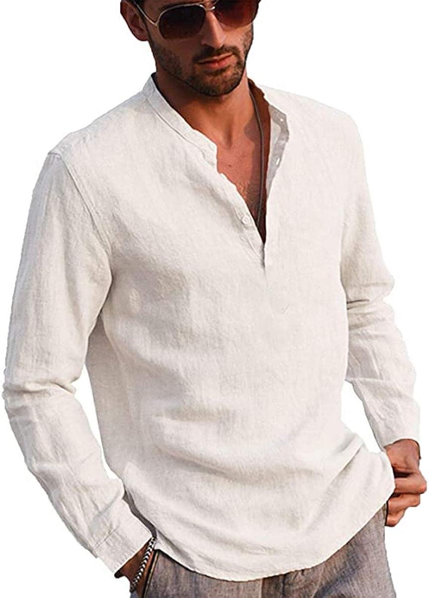 N / D Men´s Cotton Linen Henley Shirt Long Sleeve Hippie Casual Beach T Shirts