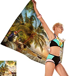 homehot Bath Towels Egyptian Cotton Digital Fresco Pirate Ship,W12 xL35 for Men red