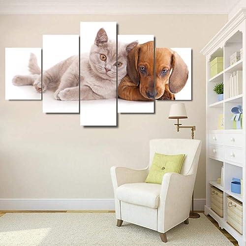 tienda en linea YHEGV Impresiones en en en Lienzo Lienzo HD Impresiones Pinturas Arte de la Parojo Decoración para el hogar 5 Piezas Perros y Gatos encantadores Posters para la Sala de Estar Animales Fotos Marco  Ahorre 35% - 70% de descuento