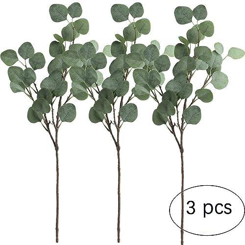 Amkun Lot de 3 branche de feuilles d'eucalyptus argenté 64,8 cm feuillage artificiel pour fête, mariage, décoration de la maison