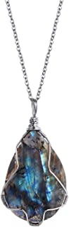 Natural Gemstone Teardrop Pendant Neckace for Women Chakra Healing Crystal Labradorite Necklace for Men