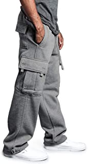 acelyn Mens Jogging Bottoms Pants Fleece Cargo Baggy Joggers Sweatpants with Multi Pockets