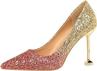 MMJULY Women's Classic Glitter Pointed Toe Stiletto High Heel Wedding Party Dress Pumps