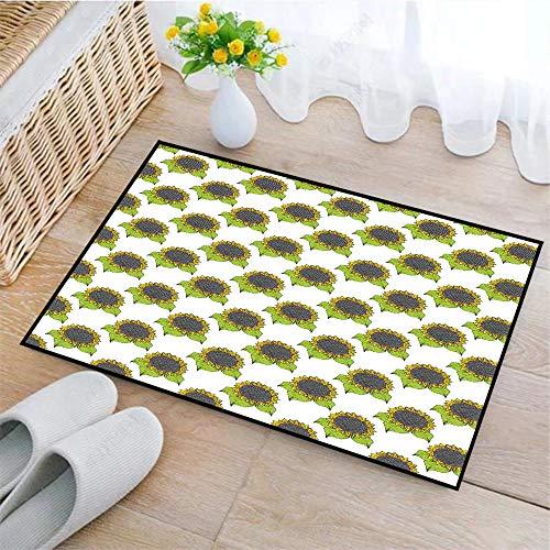 Rutschfeste Badematte 45x75cm,Floral, Hand gezeichnete Skizze Sonnenblumen mit lebendigen frischen Federblättern, Apfelgrün Gelb Dunkel Taupe,Badteppich auswaschbar Mikrofaser Teppich für Badezimmer