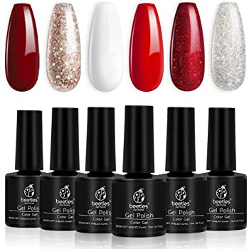 Beetles Candy Cane Gel Nail Polish Set - 6 Colors Glitter Burgundy Red Sparkle Gel Polish Kit Snow White Silver Nail Gel Polish Soak Off LED New Year Gel Nail Kit Vanish Manicure DIY Home Christmas Holiday Box