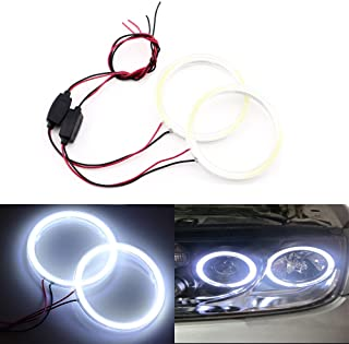 Qasim 1-Pair White 70MM 60SMD COB LED Halo Ring Angel Eyes Led Car Headlight with lampshade Cover 12V 24V DC
