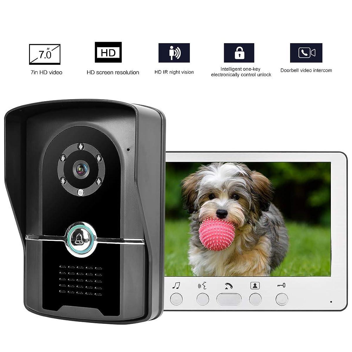 Bewinner Video Door Phone Intercom System, 7in TFT LCD Night Vision Wired Doorbell,Call Intercom,Hands-Free Intercom,Monitoring, Unlock,Highly Waterproof Outdoor Unit(US)