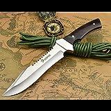 NedFoss Fahrtenmesser Rambo Messer  Survival Messer Camping Jagdmesser Outdoormesser Gürtelmesser Überlebensmesser - aus eiem Stück 5Cr13Mov Stahl, Vergrößerte Version