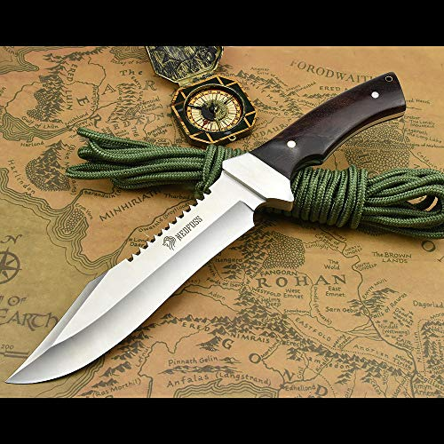 NedFoss Fahrtenmesser Rambo Messer| Survival Messer Camping Jagdmesser|Outdoormesser Gürtelmesser Überlebensmesser - aus eiem Stück 5Cr13Mov Stahl, Vergrößerte Version
