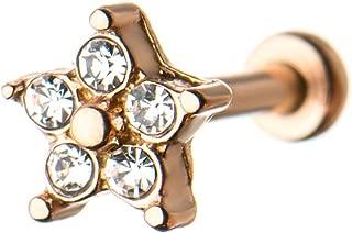Pierced Owl CZ 水晶星内部螺纹骨架/Tragus 耳钉 - 多种颜色可选
