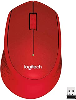 Logitech M330 Silent Plus Wireless Mouse, 2.4GHz with USB Nano Receiver, 1000 DPI Optical Tracking, 3 Buttons, 24 Month Life Battery, PC/Mac/Laptop - Red