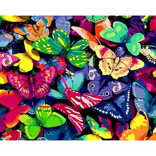 Conjunto de animales pintura por número en lienzo pintura acrílica Kit de bricolaje para adultos pintura y coloración de imágenes decorar por número W12 30x40cm