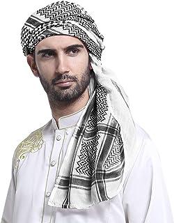 Men Arabic Shemagh Kaffiyeh Headscarf Turban Bandana Soft Muslim Hijab Headband Shawl Classic Arafat Headwrap Headwear