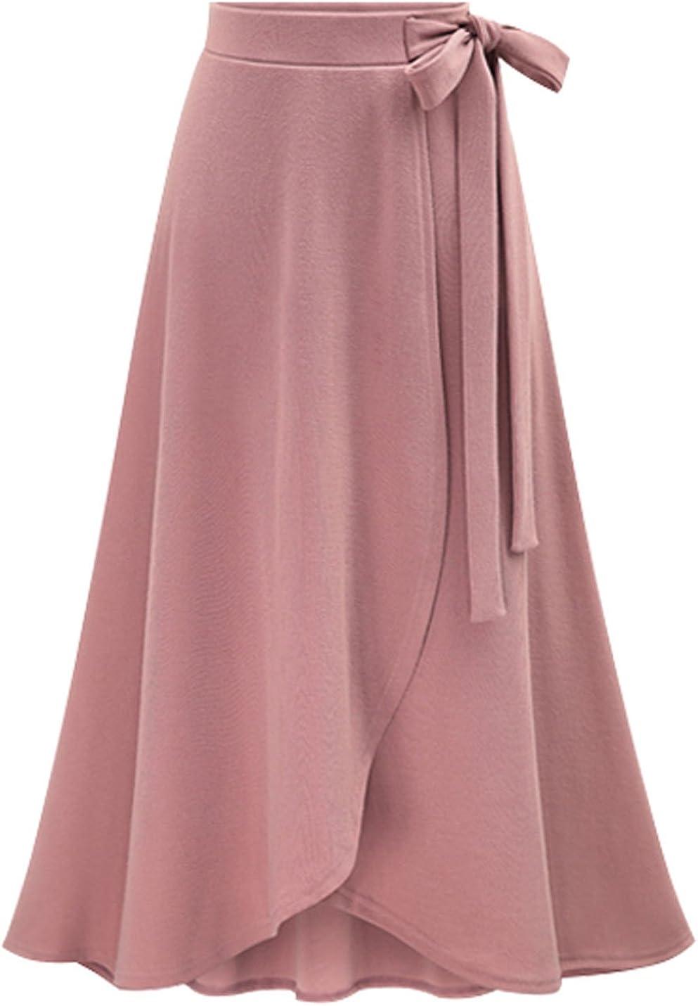 Yeokou Women's Casual Solid High Low Irregular Hem Maxi Midi Long Knit Skirt