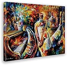 Giallo Bus - Cuadro - Prensa Sobre Tela Canvas - Lenoid Afremov - Bottle Jazz - 50 X 70 Cm
