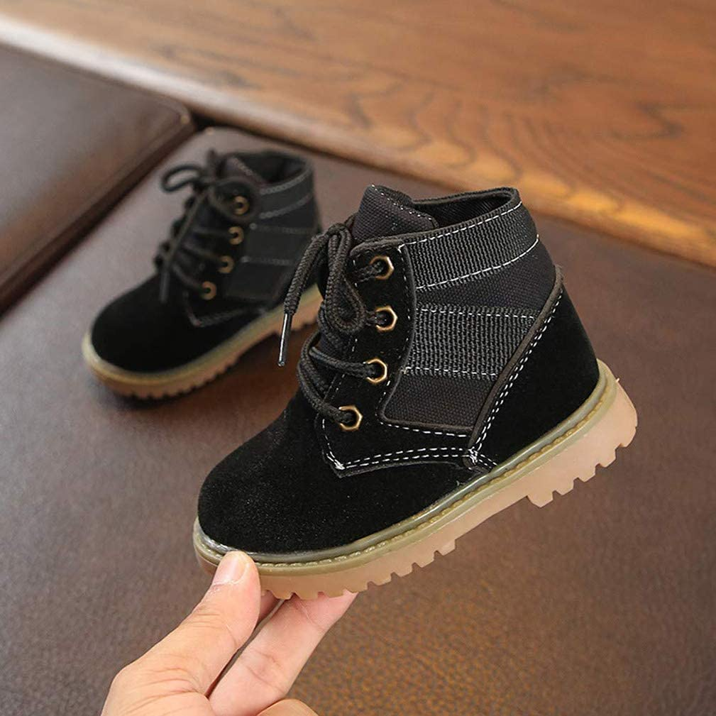 Cartoon Kids Infant Baby Boys Girls Boots Toddler Casual Snow Shoes Warm Soft Sole Lace-Up Sneaker Ankle Boots British Style
