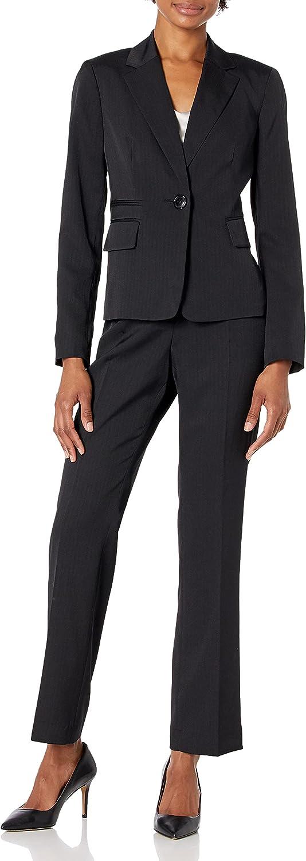 Le Suit Women's Petite 1 Notch Pant Fashionable Collar Genuine Pinstripe Button