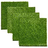 Artificial Grass Mat Squares, Fake Turf Patch for Decor, Placemats, Table Runner (12 x 12 in, 4 Pack)