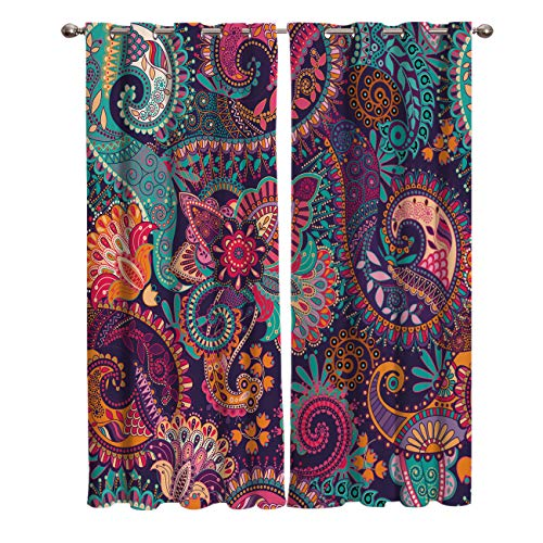 FortuneHouse8 Blackout Curtains Thermal Insulated Indian Bohemian Mandala Colorful Paisley Pattern Room Drapes Window Curtain for Bedroom Living Room Set of 2 Curtain Panels Home Fashion 52x52inch