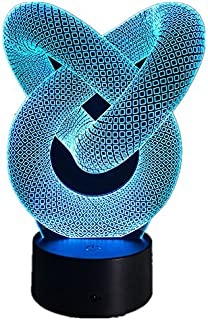 Love Knot Abstract Circle Spiral 3D Bulbing Night Light Magic Shape Illusions 7Colors Change Decor Lamp