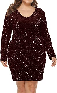 IyMoo Womens Sequin Dress Plus Size V Neck Party Cocktail Sparkle Glitter Evening Stretchy Mini Bodycon Dresses