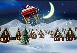 DORCEV 7x5ft Christmas Photography Backdrop Happy New Year Party Merry Christmas Party Background Cartoon Christmas Eve House Santa Brings Presents Party Banner Christmas Photo Studio Props