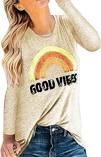 Pxmoda Women Good Vibes Tank Blouse Round Neck Long Sleeve Rainbow Casual Ladies Waistcoat Tank Tops