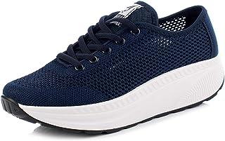491a322a Mujer Zapatillas de Deporte Plataforma Zapatos para Correr Cuña Sneakers  con Cordones Mocasines Cómodos de Malla