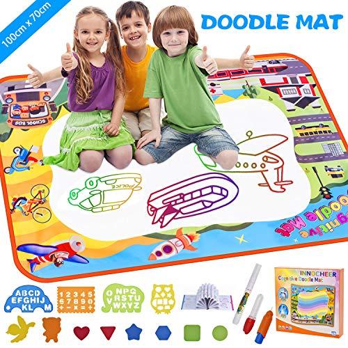 INNOCHEER Wasser Doodle Matte 100*70cm Malmatte - mit 3 Wasserstift Stifte, 8 Eva-Formen, 4 Zeichnungsvorlagen, 1 Bilderbuch - Geburtstag Geschenke für Kinder
