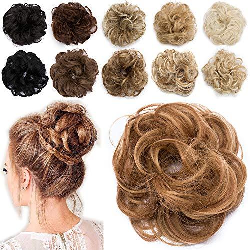 TESS Haarteil Haargummi Braun Ombre Dutt mit Haaren Gewellt Kleine Haarknoten Hochsteckfrisuren günstig Haarverlängerung Extensions für Frauen 30g