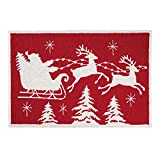 C&F Home Flying Santa Sleigh Reindeer Red and White Wool Holiday Hooked Rug 2'x3' Red
