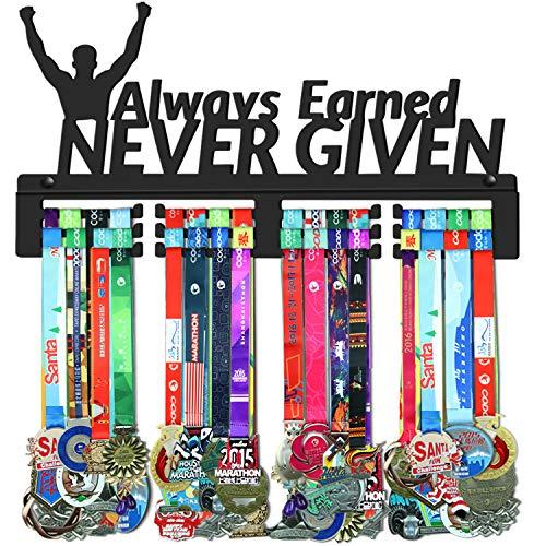 WEBIN Always Earned Never Given Medaillen Aufhänger Halter Display Rack,Schwarz Super Hart Stahl Metall,Wandmontage Über 70 Medaillen