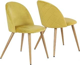Lot de 2 Chaises pour Salle à Manger Confort Plus en Velours avec Jambes en Métal Style Bois - Jaune