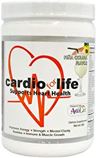Cardio for Life L-Arginine Powder 16oz - Pina Colada - Natural Nitric Oxide Supplement for Cardiovascular Health - Regulate Cholesterol & Blood Pressure - Increase Energy