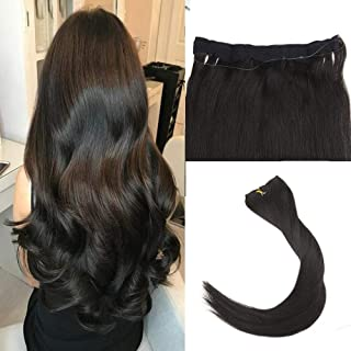 Easyouth Halo Piece Hair Extensions 12inch 70g Color Off Black Hair Extensions on Fish Wire Fishing Line Hair Extensions Wire Hair Extensions Human Hair