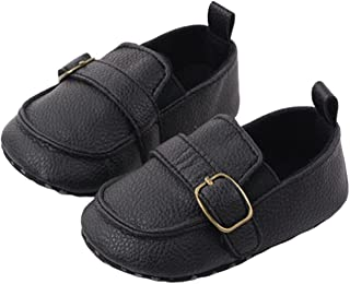 Baby Girl Boy Solid Shoes Peas Shoes Newborn PU Leather Shoes Toddler Soft Bottom First Walker (Color : Black, Size : 12-1...