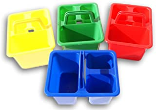 Miniature School Caddy Tote Set - 4 Count - Red, Green, Blue, and Yellow