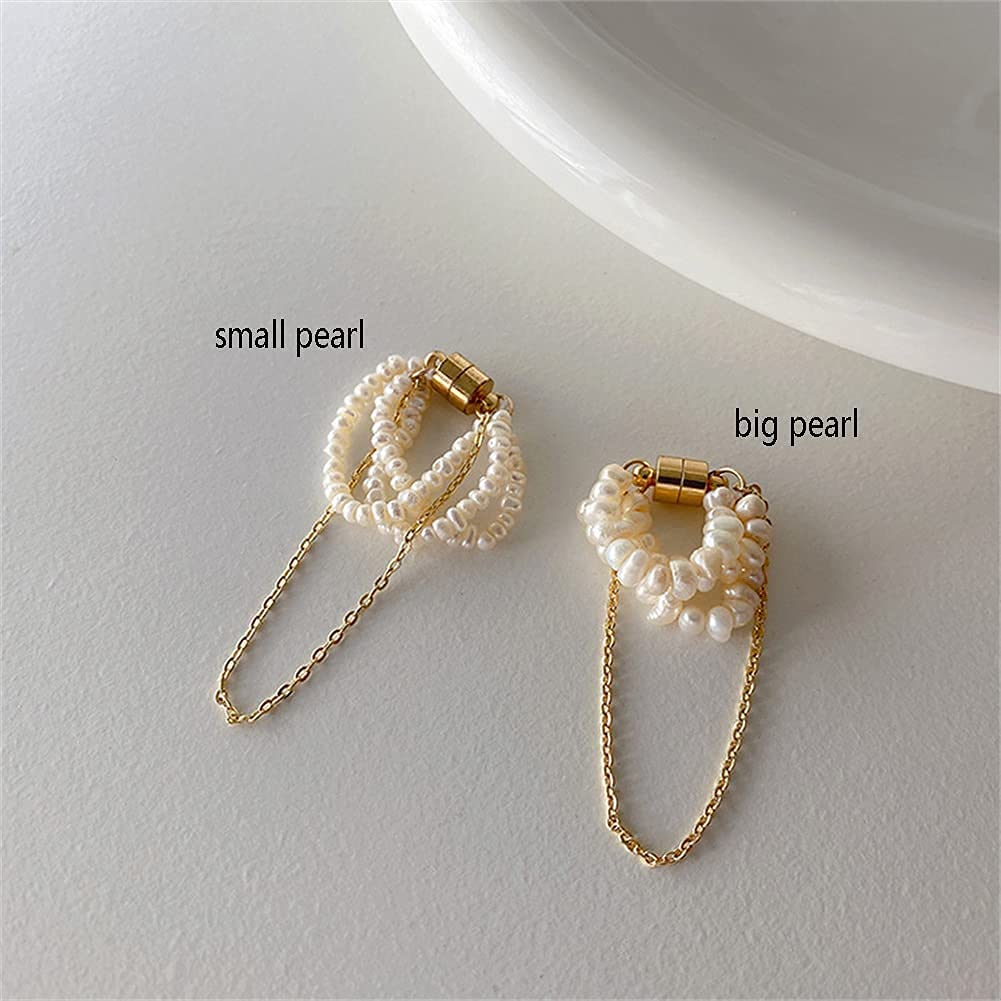 YGTQ Natural Freshwater Pearl Long Chain Magnet Ear Clip, Non-Pierced Ear Cuff, French Vintage No Piercings Tassel Earrings Jewelry Party Gift, South Korea Ins Retro (Small Pearl,2 PCS)