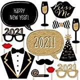 Big Dot of Happiness New Years Eve Party - Gold - 2021 New Year's Photo Booth Props Kit - 20 Count