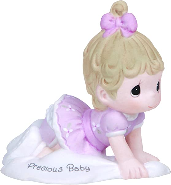 Precious Moments Growing In Grace Precious Baby Bisque Porcelain Figurine Brunette Girl 133040