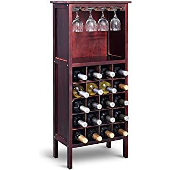 Scaffale per Minimo 20 Bottiglie di Vino con Appendi Calici Cantinetta con Ripiani e Porta Calici per Vino Champagne RELAX4LIFE Portabottiglie per Vino in Legno di Pino