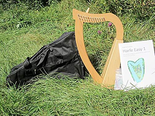 Harfe mit 12 Saiten Irisch keltisch incl Tasche und Lehrbuch