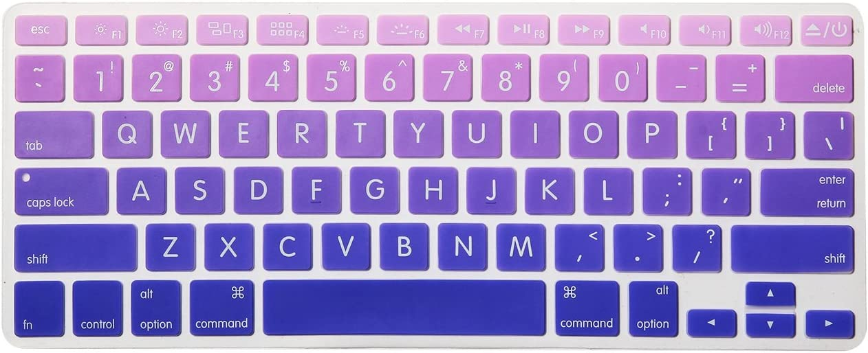 HRH Silicone Keyboard Cover Skin for MacBook Air 13,for MacBook Pro 13/15/17 (with or w/Out Retina Display, 2015 or Older Version)&for iMac Older USA Layout,Big Font Ombre Purple