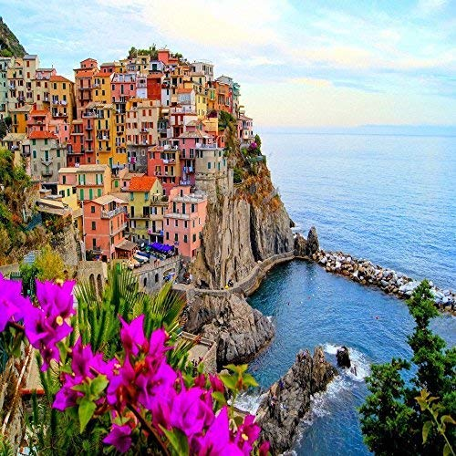 "Village Of Manarola, Cinque Terre, Italy. With Flowers. 24"" x 24"" Canvas Print"