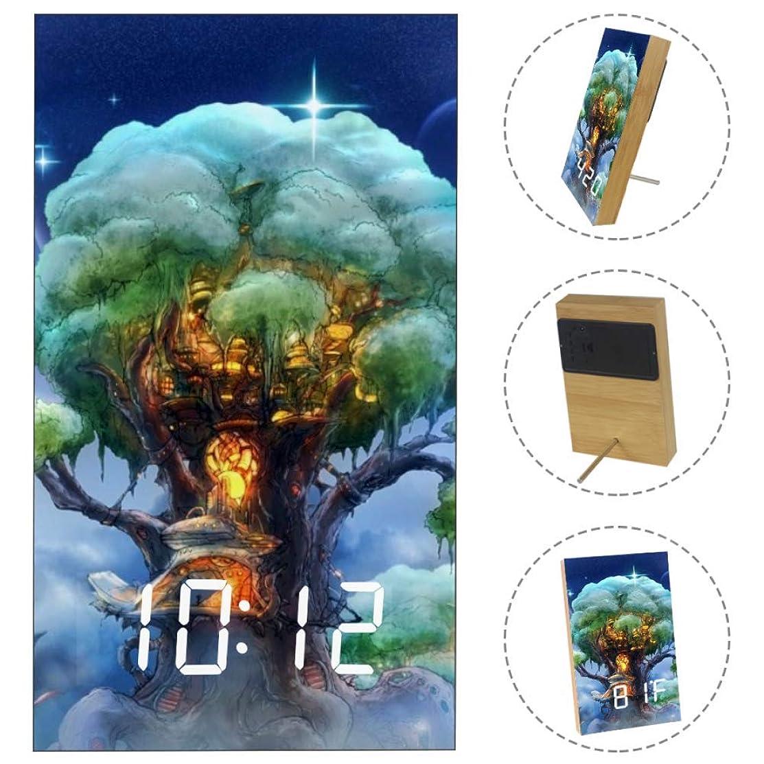 Magic Tree Wood LED Light Alarm Clock Battery Power Supply for Bedroom, Office