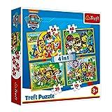 Trefl TR34307 Immer pünktlich, PAW Patrol 35 bis 70 Teilen, 4 Sets, für Kinder ab 3 Jahren Puzzle, Farbig
