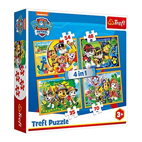 Trefl TR34307 Immer pünktlich, PAW Patrol 35 bis 70 Teilen, 4 Sets, für Kinder...