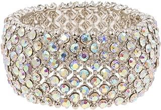 Lavencious Tennis Rhinestone Stretch Bracelets Bridal Evening Party Jewelry for Woman Bangle
