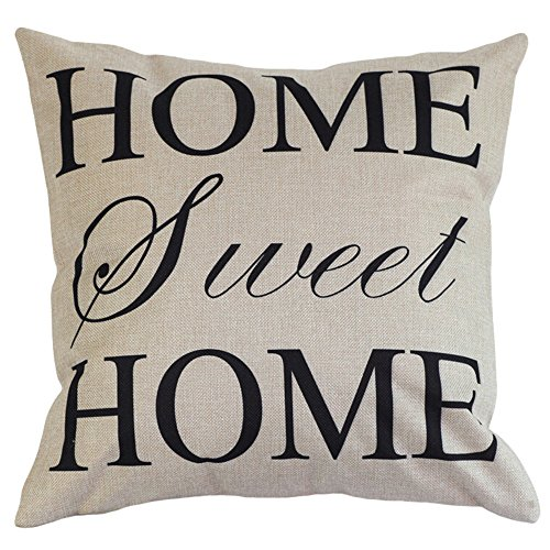 Lumanuby 1 funda de cojín con palabras en inglés de «Home Sweet Home», de algodón y lino, para sofá, oficina, coche, cafetería, decoración, 45 x 45 cm, fundas de cojín decorativas de serie